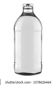 Clear White Tonic, Soda or Water Bottle Booch. Realistic 3D Mockup Isolated on White Background Close-Up.