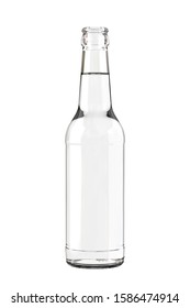 Clear White Water, Soda, Cider or Tonic Bottle. 12 oz (11 oz) or 355ml (330ml) of volume. Realistic 3D Mockup Isolated on White Background Close-Up.