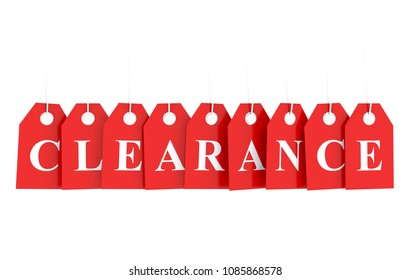 Clearance text on red hanging labels 3D render