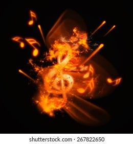 Clef with fire and flame