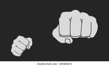 5faf3cb4a Clenched striking man fists in fight stance. Ready to fight. Chalk raster  clip art