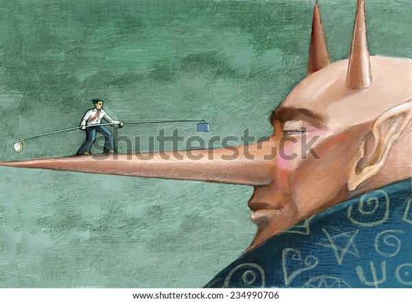 a clerk walking on the nose of a devil trying to maintain a balance between time and work cdonceptual illustration allegory of work