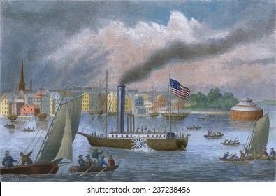 The CLERMONT Robert Fulton's first steamship starting its first New York to Albany voyage It sailed 150 miles upstream in 32 hours at an average speed of five mile per hour August 17- 18, 1807.