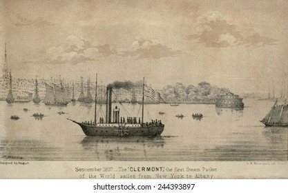 The CLERMONT Robert Fulton's first steamship starting its first New York to Albany voyage. It sailed 150 miles upstream in 32 hours at an average speed of five mile per hour.