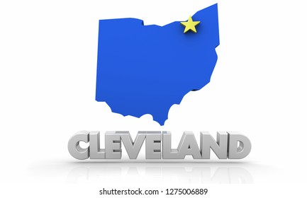 Cleveland OH Ohio City State Map 3d Illustration