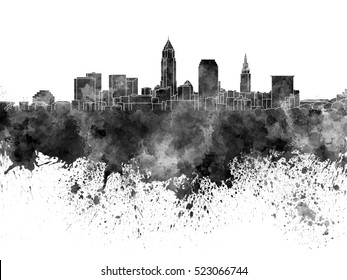 Cleveland skyline in black watercolor on white background