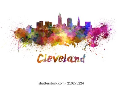 Cleveland skyline in watercolor splatters with clipping path