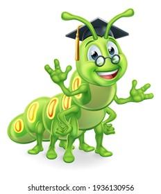 A clever teacher or professor bookworm caterpillar worm cartoon character education mascot wearing graduation mortar board hat and glasses