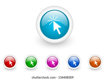 click here circle web glossy icon colorful set