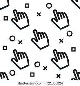 Clickbait. Cursors of the hand press the button. Digital Marketing.  flat pattern