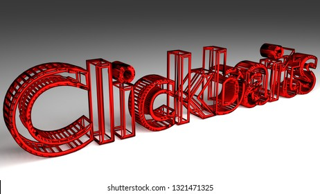 Clickbaits sign in red and glossy letters on a white background for an interesting header for online marketing concept with copy space. 3d Illustration