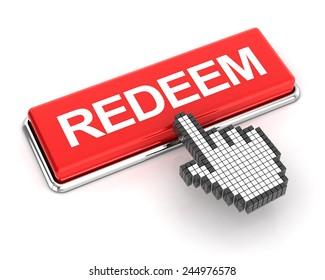Clicking a redeem button, 3d render, white background
