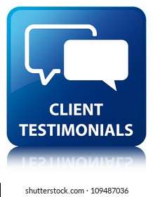 Client testimonials glossy blue reflected square button