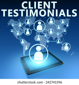 Client Testimonials illustration with tablet computer on blue background
