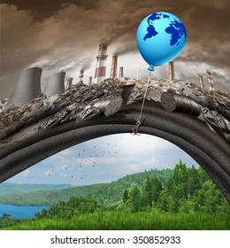 Climate change global agreement concept as a blue balloon with an earth lifting away a polluted dirty industrial background revealing a clean green natural landscape as a greenhouse gas solution.