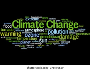 Climate Change, word cloud concept on black background.