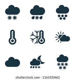 Climate icons set with heavy sleet night, winter, snowfall and other temperature  elements. Isolated  illustration climate icons.