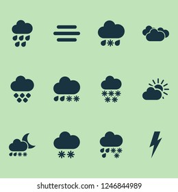 Climate icons set with winter, hailstone, fog and other hail elements. Isolated  illustration climate icons.