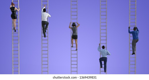 Climb the Corporate Ladder as a Business Concept 3D Render