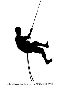 Climber silhouette illustration. Young man abseiling down silhouette.
