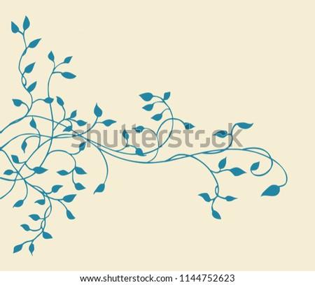 Climbing Blue Ivy Vine Border Design Stockillustration 1144752623