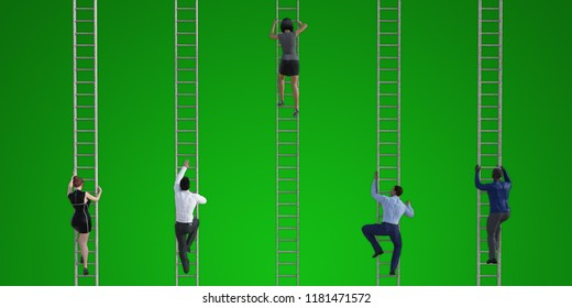 Climbing the Corporate Ladder as a Business Concept 3D Render