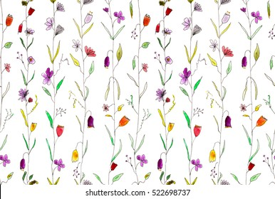 climbing flowers seamless pattern, hand drawn watercolor and liner