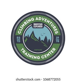 Climbing training centre vintage isolated badge. Mountain explorer sign, touristic expedition label, nature hiking and trekking illustration