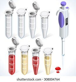 Clinic Biochemistry Test Kit Complete Set Tube laboratory equipment. 3D Isometric Tube Blood Test Icons Healthcare Clinic Hospital Infographic Elements Illustration.