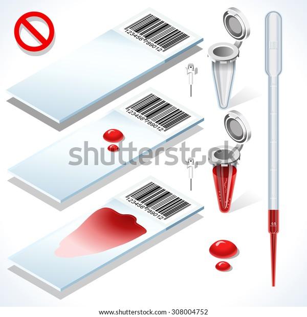 Clinic Hematology Test Kit Complete Set Tube laboratory equipment. 3D Isometric Tube Blood Test Icons Healthcare Clinic Hospital Infographic Elements Illustration.