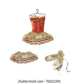 Clip art: ballet dress, skirt and slippers