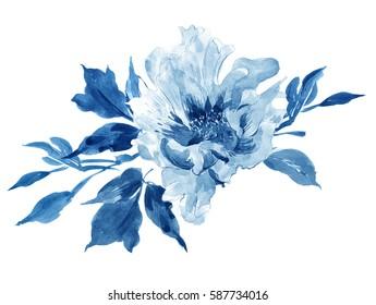 Clip Art Hand Painted Watercolor Art Illustration Floral Arrangement Bouquet Peony Cobalt Blue