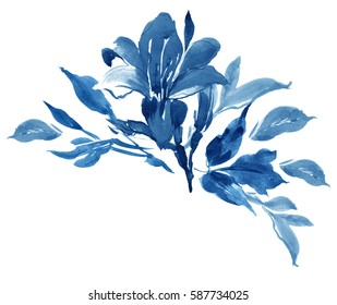 Clip Art Hand Painted Watercolor Art Illustration Floral Arrangement Cobalt Blue
