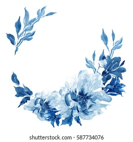 Clip Art Hand Painted Watercolor Art Illustration Floral Arrangement Wreath Cobalt Blue