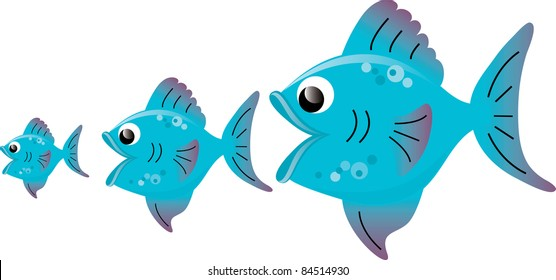 Clip art illustration of a big fish eating little fish.