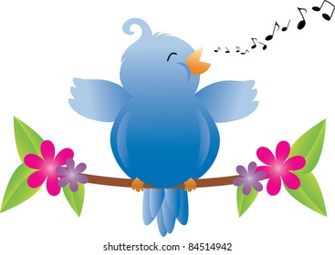Clip art illustration of a fat little blue bird singing on a tree branch with leaves and flowers and musical notes.