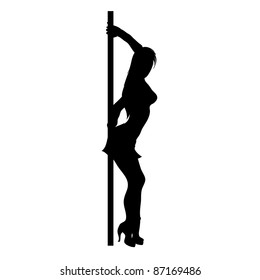 Clip art illustration of the silhouette of an erotic dancer leaning on a pole.