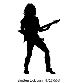 Clip art illustration of a silhouette of a guy with rock star hair playing an electric guitar.