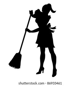 Clip art illustration of the silhouette of a maid sweeping.
