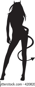 Clip art illustration of a silhouette of a sexy woman.