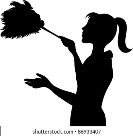 Clip art illustration of the silhouette of a young maid dusting with a feather duster.