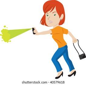 Clip art illustration of a woman using pepper spray.