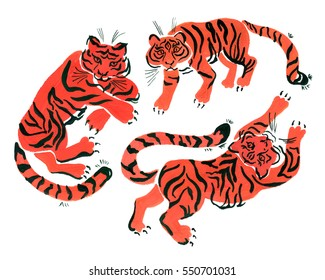Clip art with isolated painted in gouache tigers