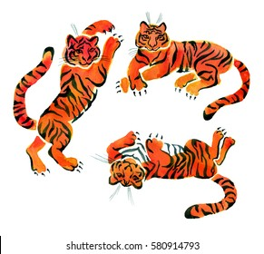 Clip art with isolated painted in watercolor tigers