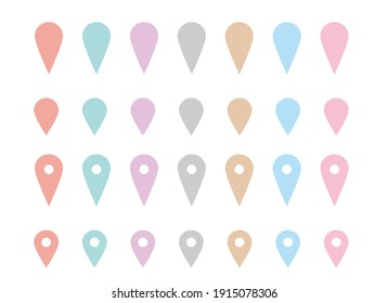 clip art of pin mark on map showing current location pastel color
