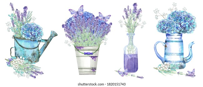 Clip art set with hydrangeas, floral elements, lavender in a glass vase and in vintage pots. Lilac butterfly. Stock illustration on a white background. Hand painted in watercolor.