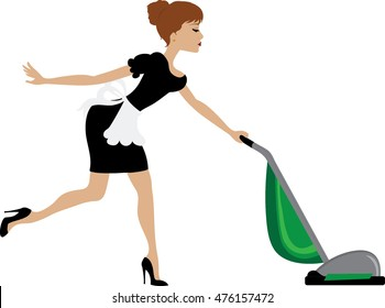 Clip art of a sexy maid vacuuming.