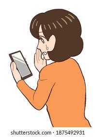 携帯電話でインターネットを心配している女性の動画クリップアート