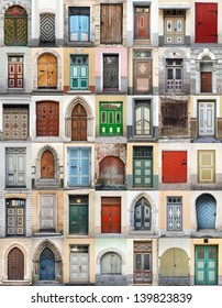 Clip-Art with big set of colorful wooden doors and gates from old town of Tallinn, Estonia