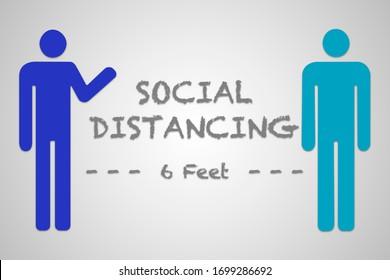 Graphique des images clipart à 6 pieds de distance sociale